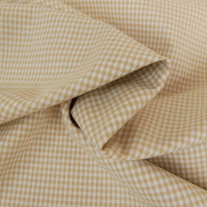 Tissu coton vichy - beige x 10cm