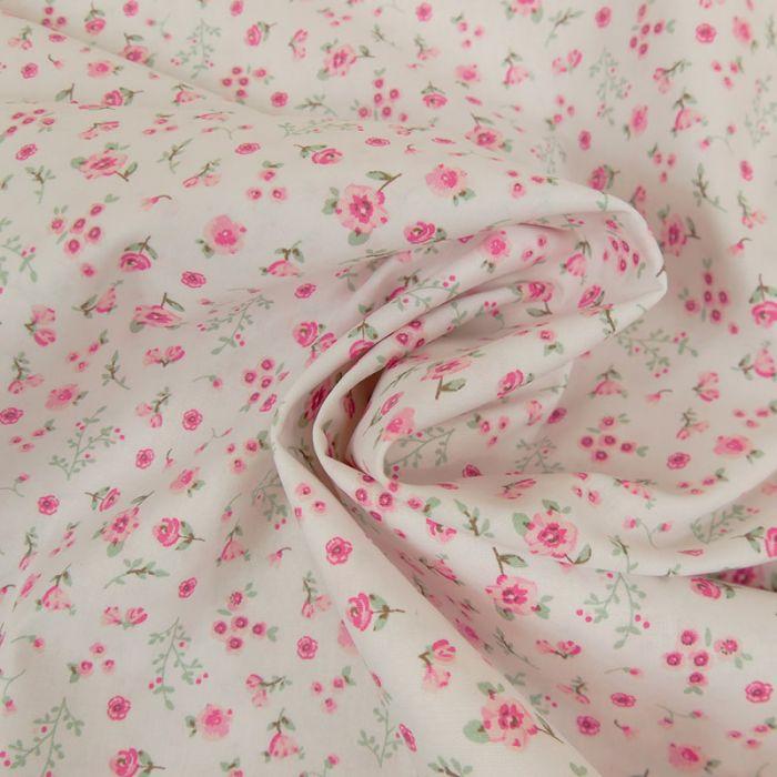Tissu coton bio pivoines roses - Poppy  x 10 cm