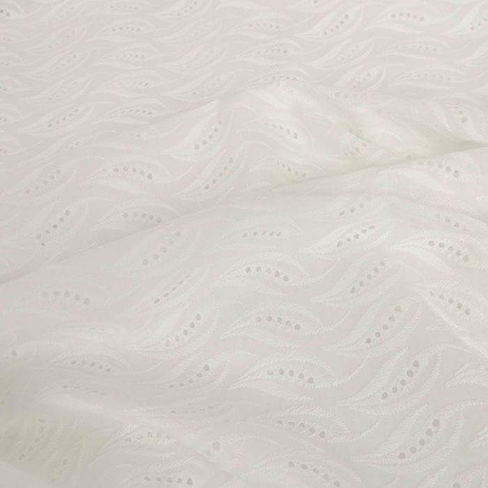 Tissu broderie anglaise palmes - blanc cassé x 10 cm