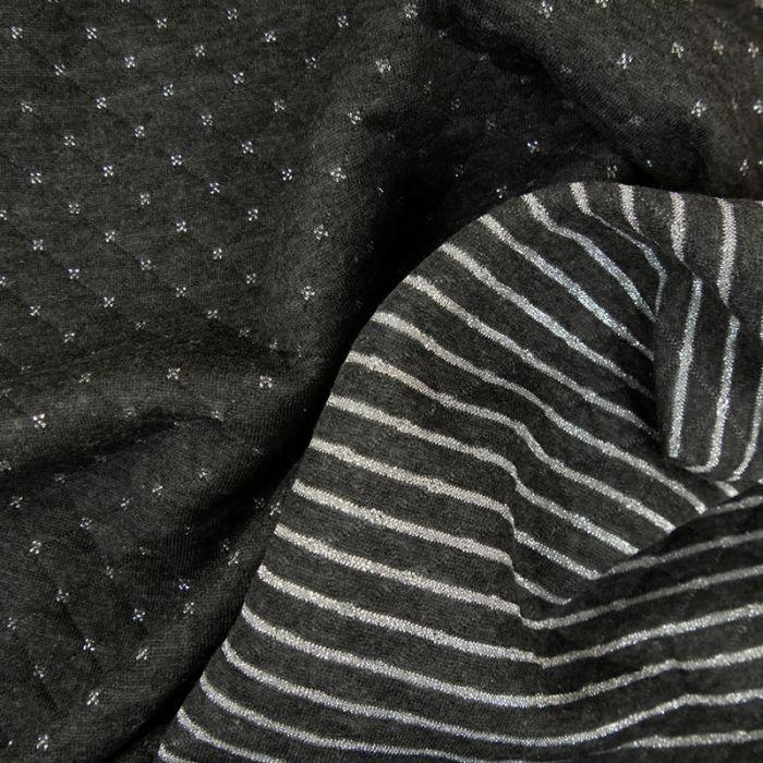 Jersey matelassé réversible gris foncé - argent x 10 cm