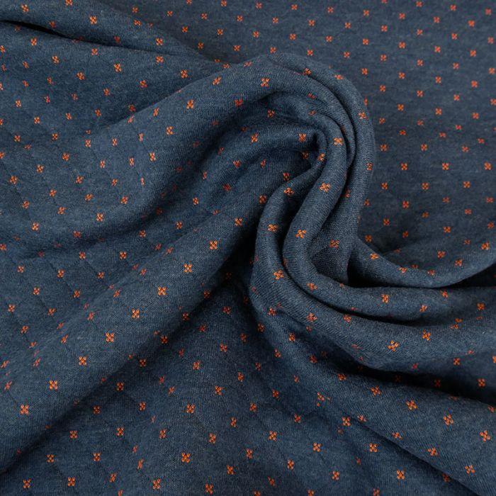 Jersey matelassé réversible bleu/orange x 10 cm