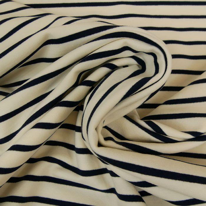 Tissu jersey marinière blanc cassé x 10 cm