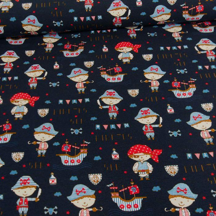 Tissu jersey fin pirates bleu marine - Poppy x 10 cm