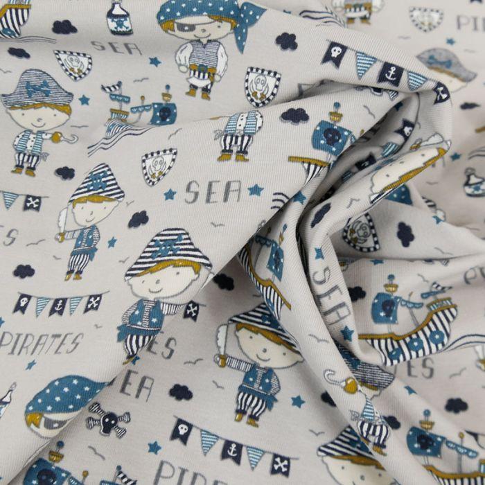 Tissu jersey fin pirates gris - Poppy x 10 cm