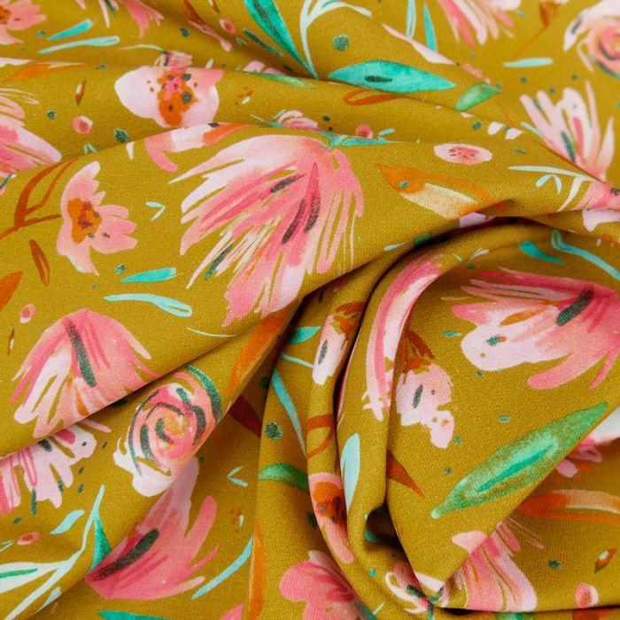 Tissu jersey fleurs roses moutarde - Poppy x 10 cm