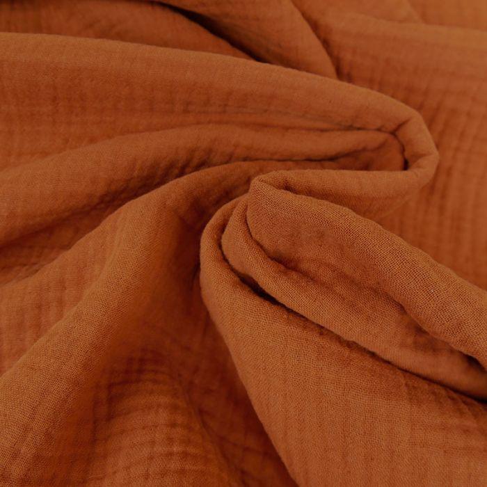 Tissu triple gaze - terracotta x 10 cm