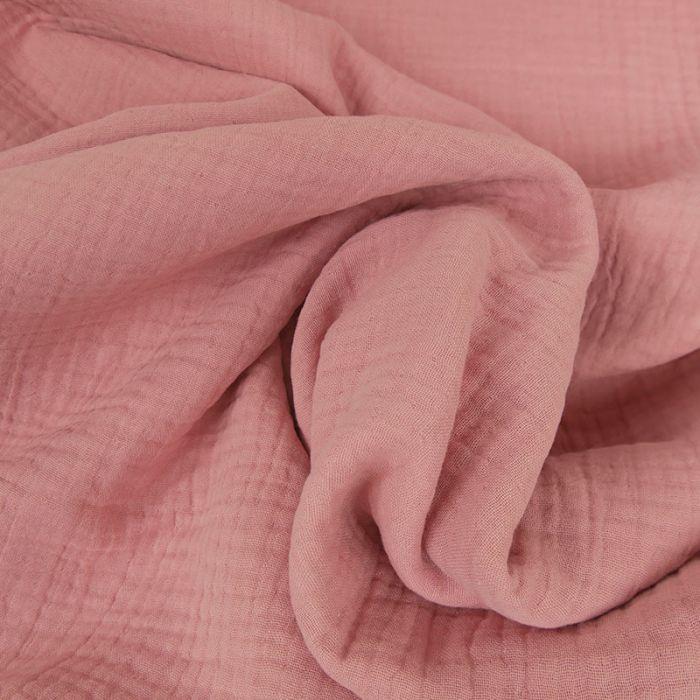 Tissu triple gaze - rose thé x 10 cm