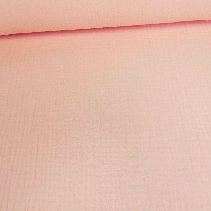 Tissu triple gaze - rose dragée x 10 cm