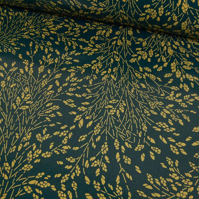 Tissu toile cirée Meadows pétrole - Au Maison x 10 cm