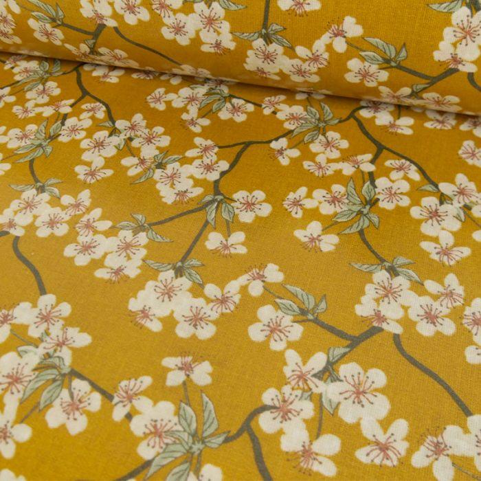 Tissu toile cirée Amalie Moutarde - Au Maison x 10 cm