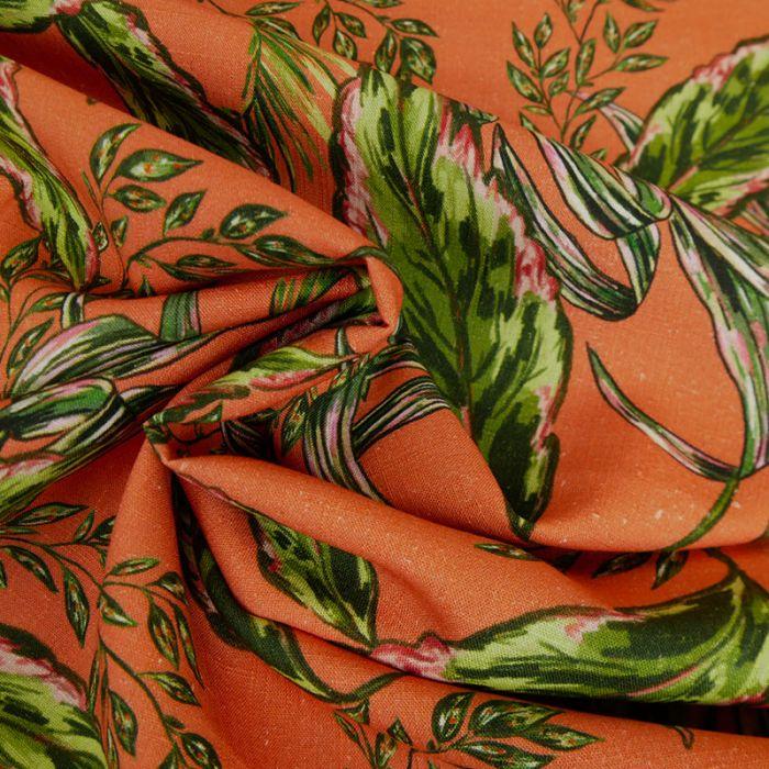 Tissu viscose lin feuilles vertes - orange x 10 cm