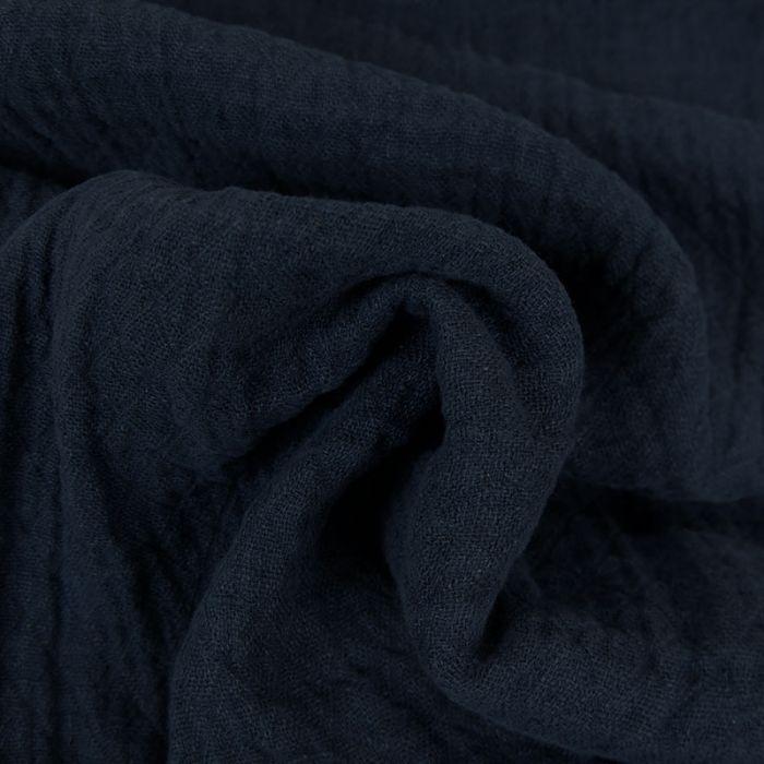 Tissu lin lavé texturé losange marine - France Duval Stalla x 10 cm