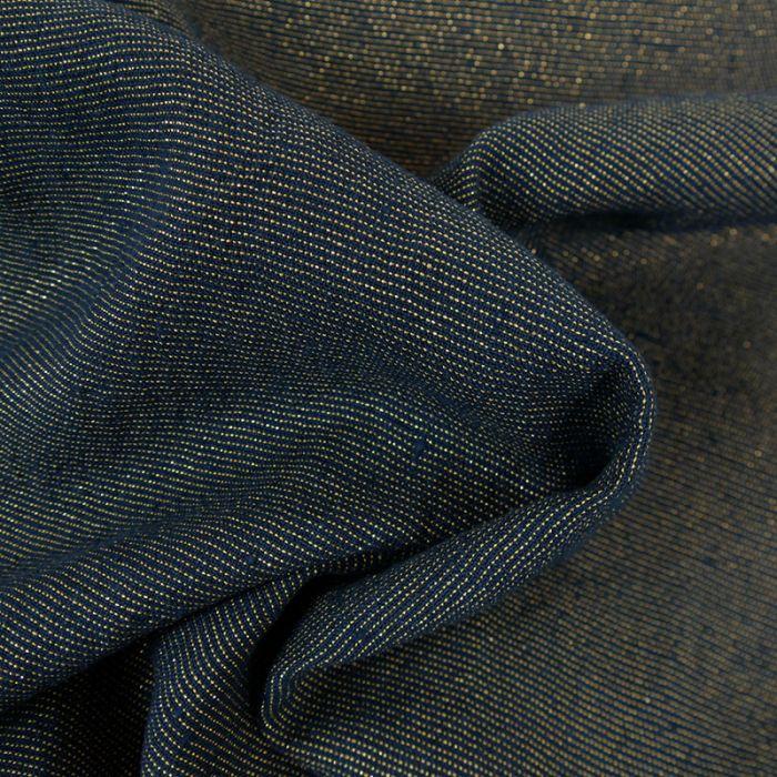 Tissu lin lavé lurex or bleu marine - France Duval Stalla x 10 cm