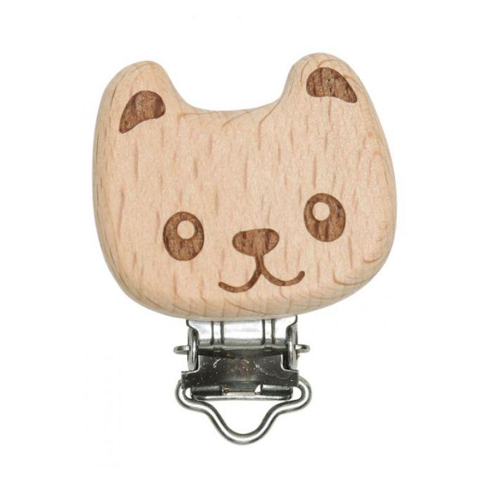 Clip attache-tétine bois - ours x1