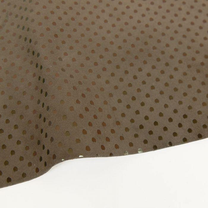 Coupon de cuir de chèvre pois dorés mat - taupe