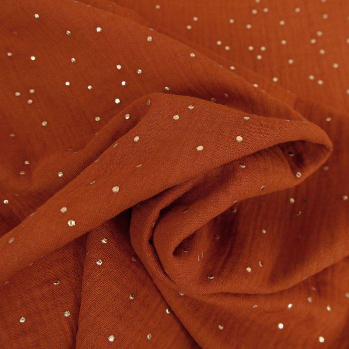 Tissu double gaze pois dorés - rouille x 10cm