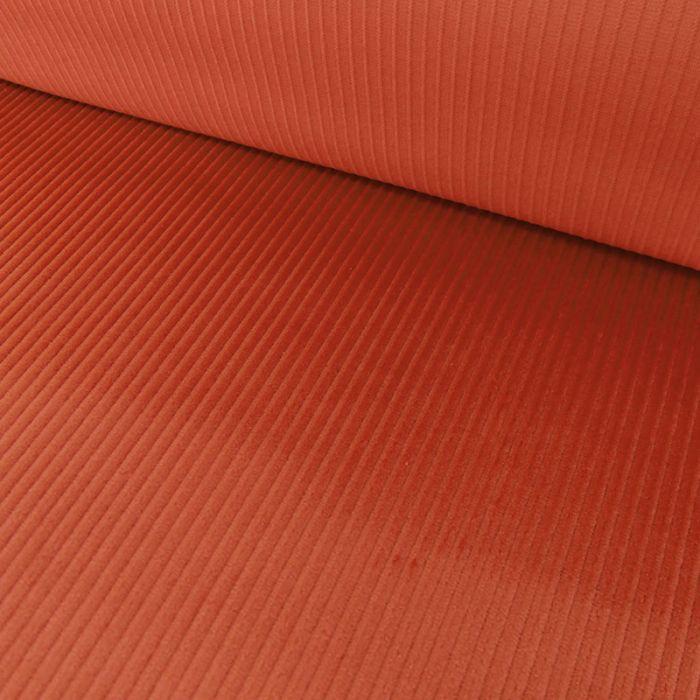 Tissu velours côtelé - corail x 10 cm