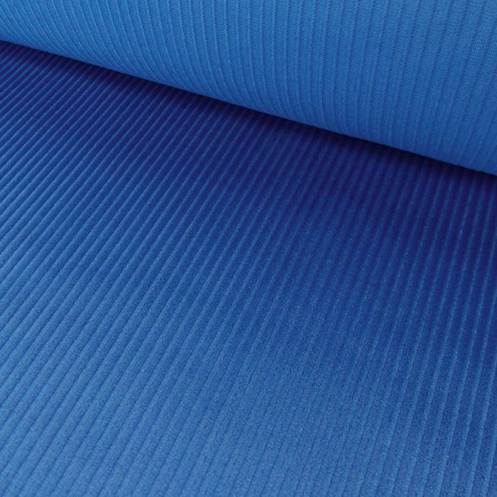 Tissu velours côtelé - bleu x 10 cm