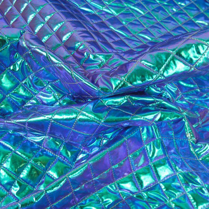 Tissu matelassé holographique - turquoise x 10 cm