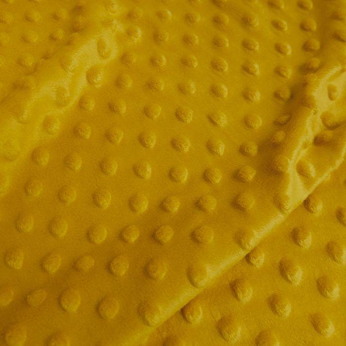 Tissu minky pois oeko-tex - moutarde x 10 cm
