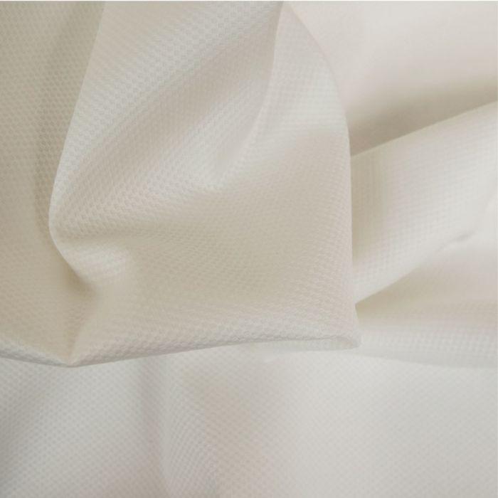 Tissu piqué de coton stretch blanc x 10 cm