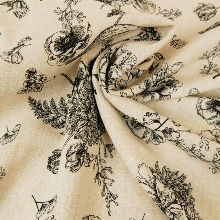 Tissu lin viscose fleurs - beige x 10 cm
