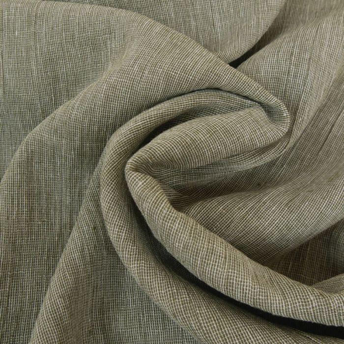 Tissu coton lin - kaki x 10 cm