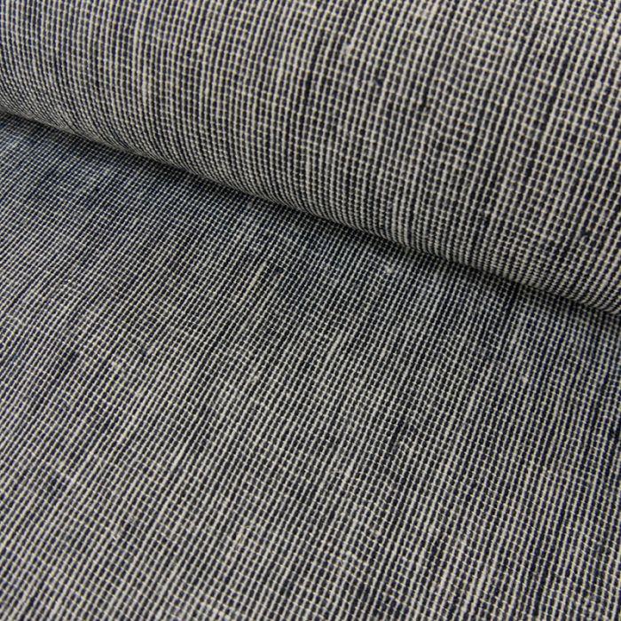 Tissu coton lin - marine x 10 cm