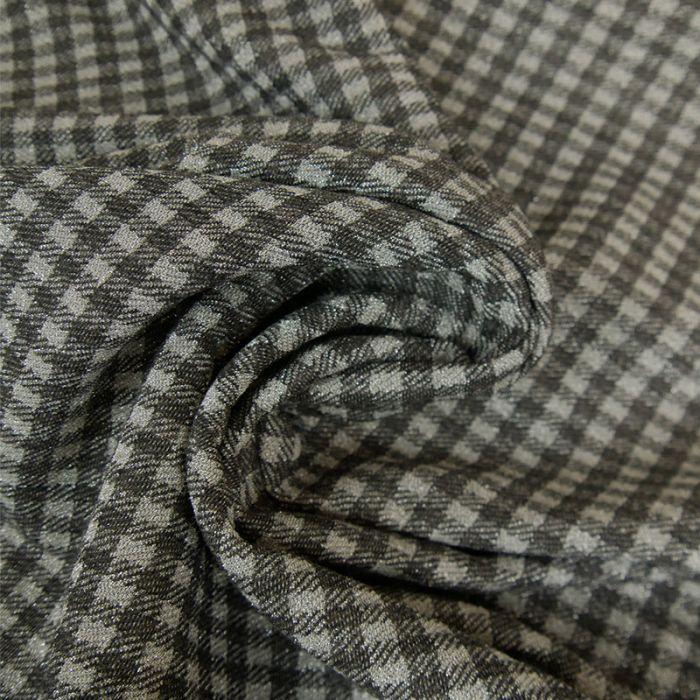 Tissu maille viscose laine carreaux - gris x 10 cm