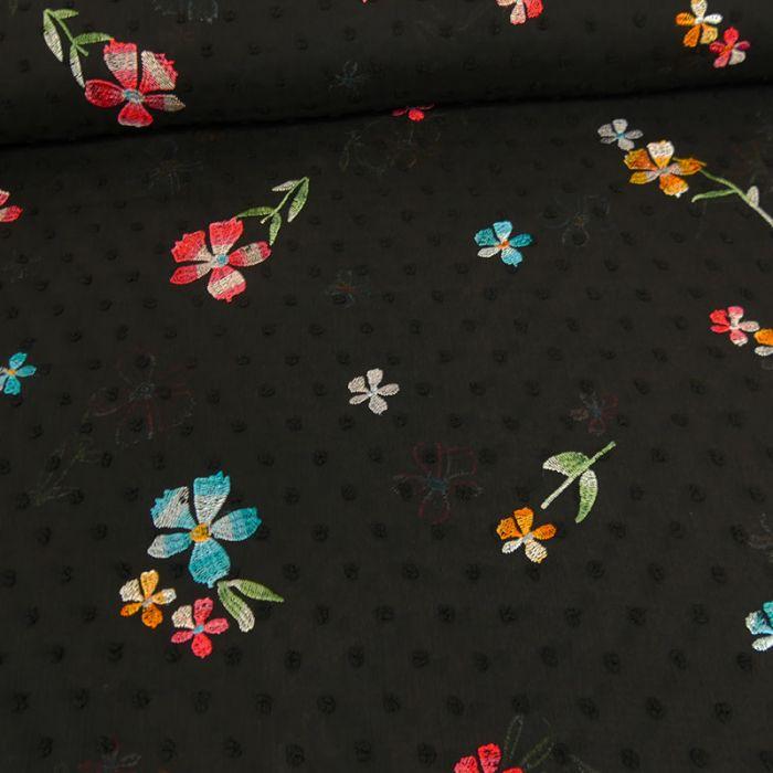 Tissu plumetis brodé - noir x 10 cm