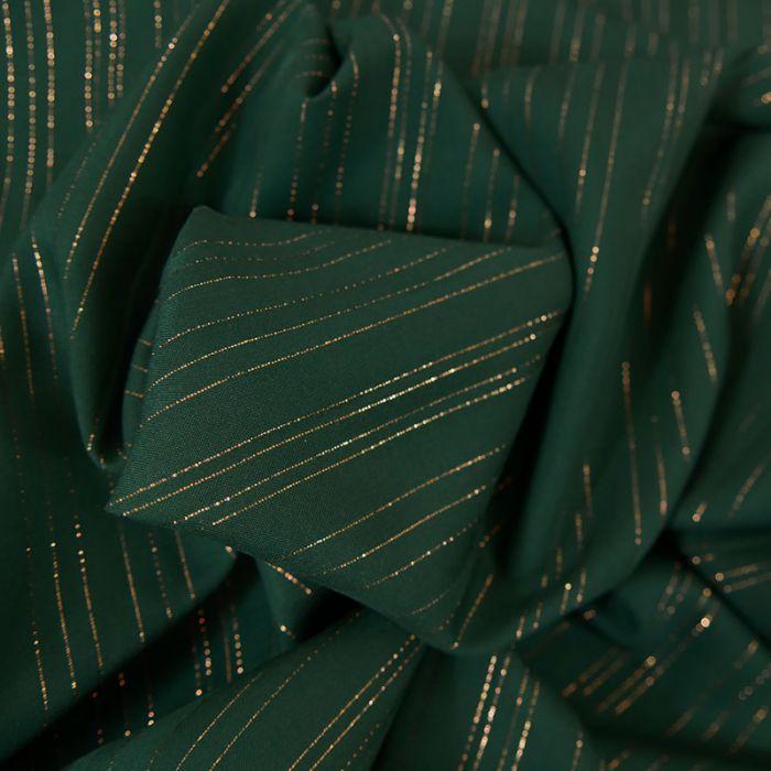 Tissu viscose rayures lurex - vert foncé x 10 cm
