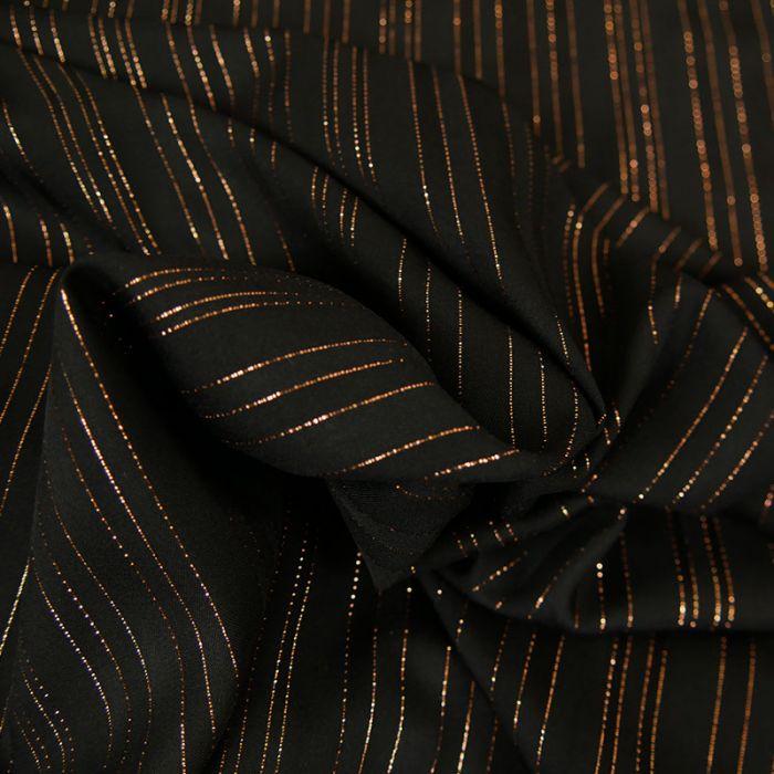 Tissu viscose rayures lurex - noir x 10 cm