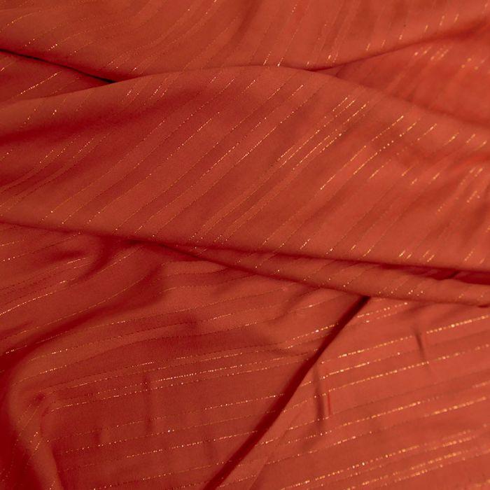 Tissu viscose rayures lurex - corail foncé x 10 cm