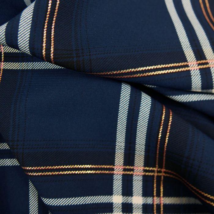 Tissu tartan grands carreaux lurex - bleu x 10 cm