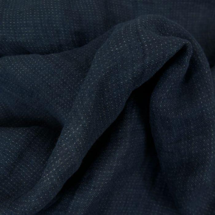 Tissu double gaze lin - bleu - France Duval Stalla x 10 cm