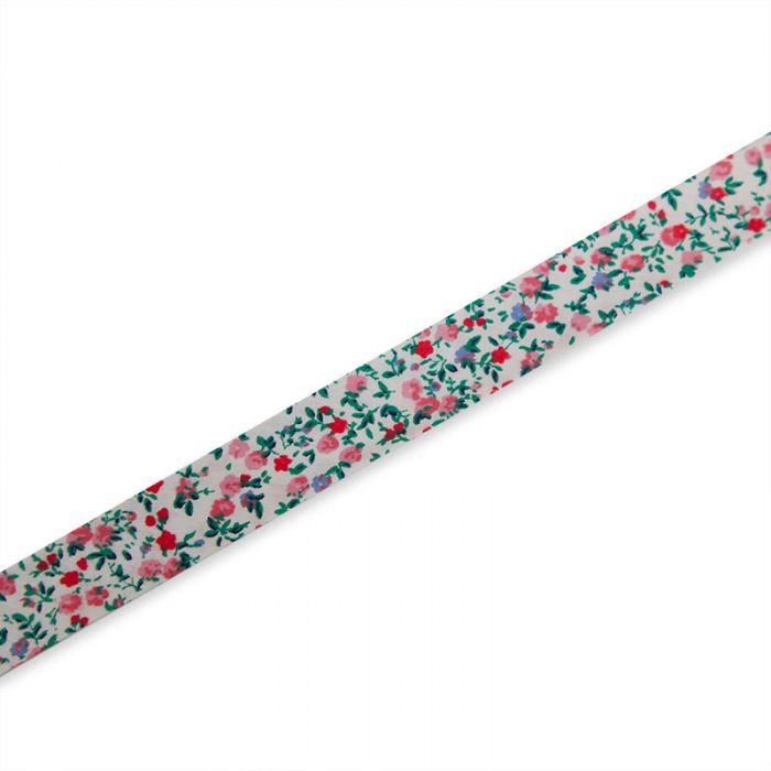 Biais polycoton fleuri - pivoine x 10 cm