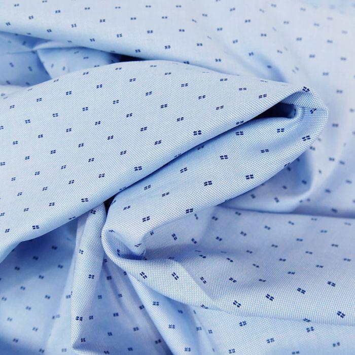 Tissu chemise coton bleu - France Duval Stalla x 10 cm