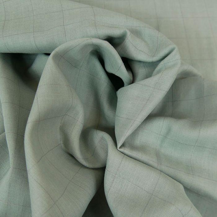 Tissu double gaze carreaux vert de gris - France Duval Stalla x 10 cm