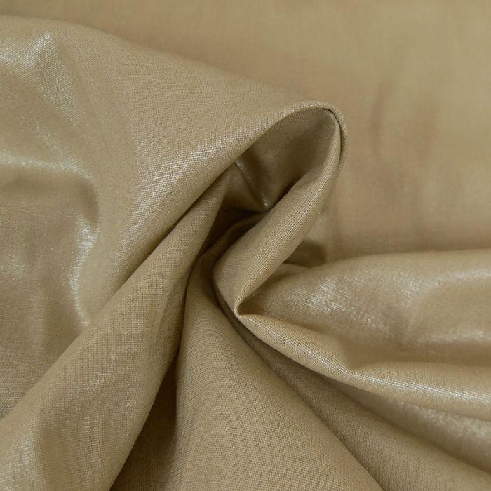 Tissu lin lamé souple beige argent - France Duval Stalla x 10 cm