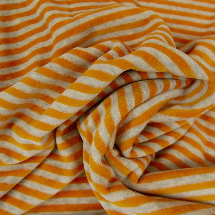 Tissu jersey velours nicky rayures orange - gris clair x 10 cm