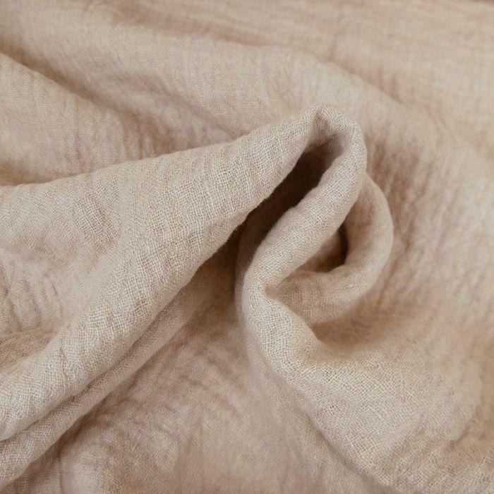 Tissu lin lavé texturé losange rose - France Duval Stalla x 10 cm