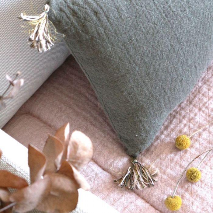 Tissu lin lavé texturé losange kaki - France Duval Stalla x 10 cm