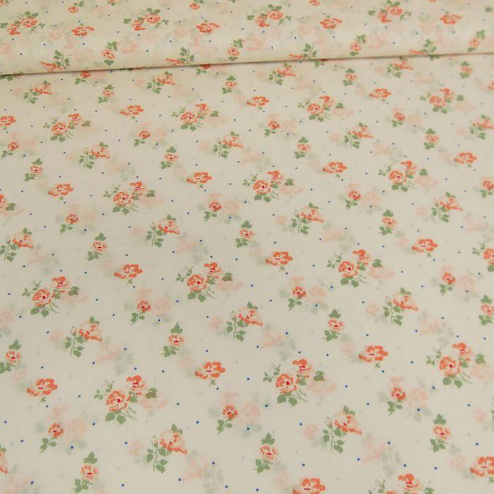 Tissu voile de coton bio fleurs blanches - C. Pauli x 10 cm