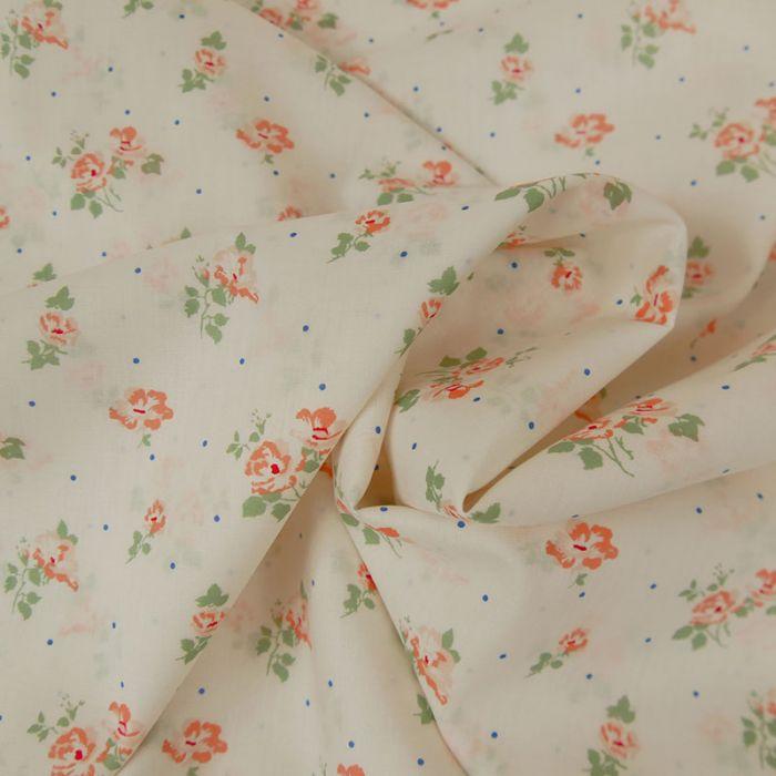 Voile de coton bio fleurs blanches - C. Pauli x 10 cm