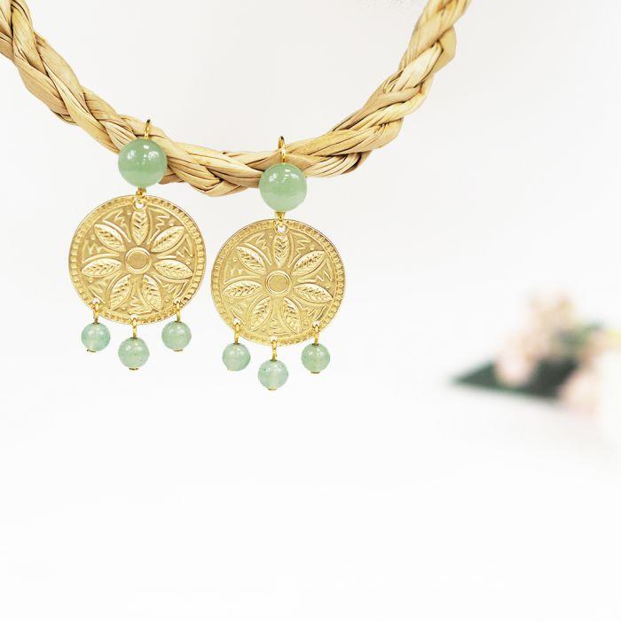 Kit : Boucles d'oreilles ethnique pierres vertes