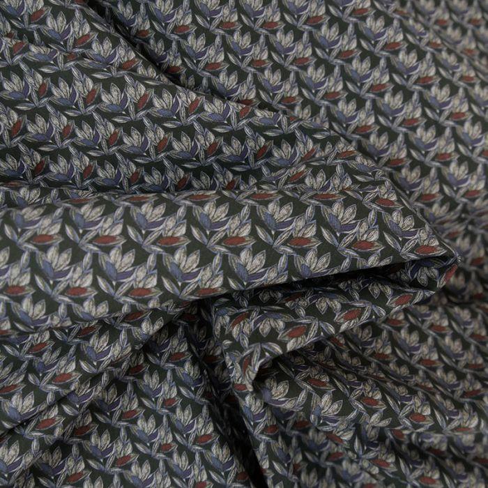 Tissu popeline coton feuilles - marine x 10 cm