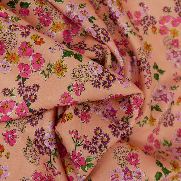 Tissu viscose fleurs  - rose x 10 cm