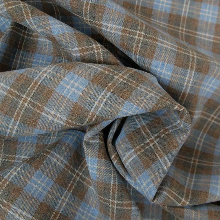 Tissu tartan écossais bleu marron x 10 cm