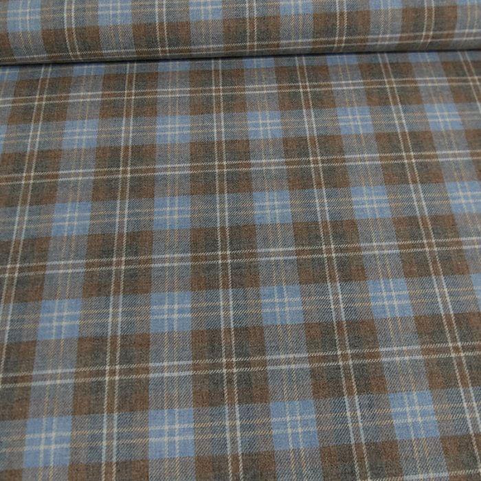 Tissu flanelle tartan écossais bleu marron x 10 cm