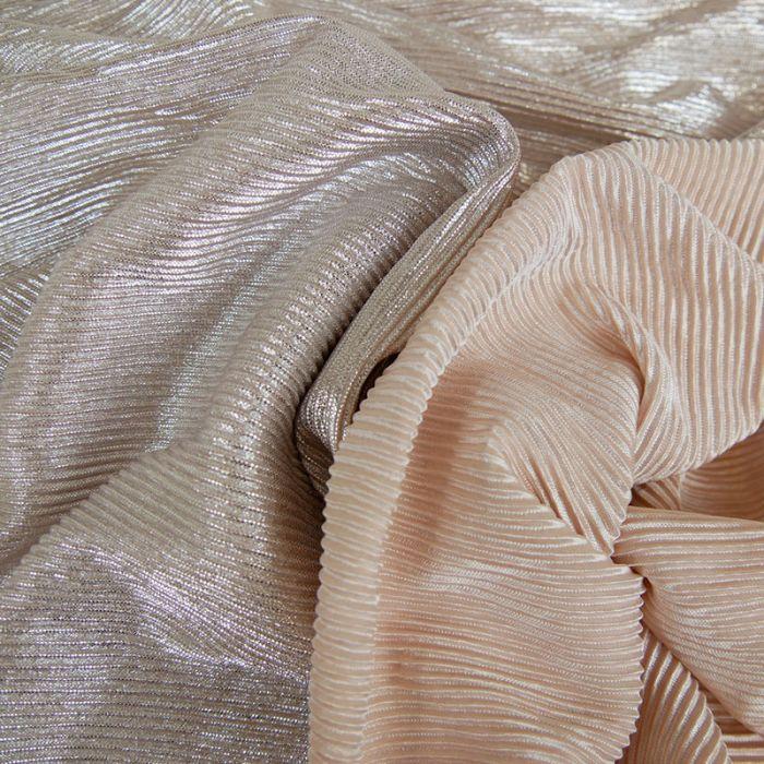 Tissu plissé - rose argent paillettes x 10 cm